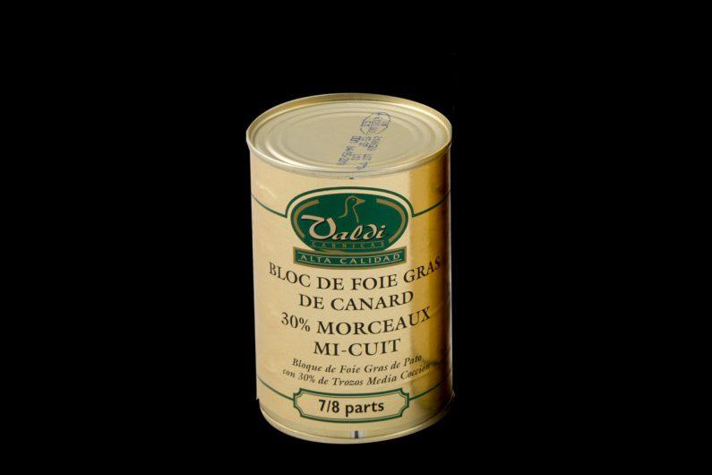 Cárnicas Valdi - Bloque de Foie Gras de Pato con 30% de Trozos Media Cocción